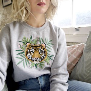Embroidered Tropical Leaf And Tiger Jumper, Handmade