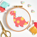 Pink Dinosaur Cross Stitch Kit