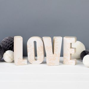 Personalised Lace Print Concrete Letters - decorative letters