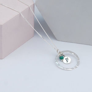 Hammered Silver Pendant Birthstone Necklace - birthstone jewellery gifts