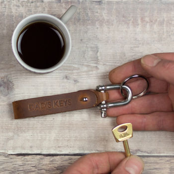 Personalised Leather Keyring Father's Day, Anniversary