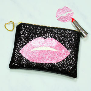 Glitter Lips Clutch Bag - womens