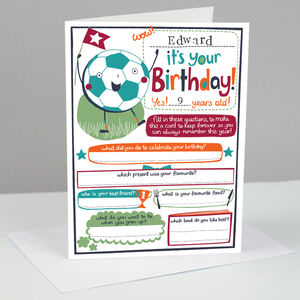 Personalised Football Birthday Card For Boys