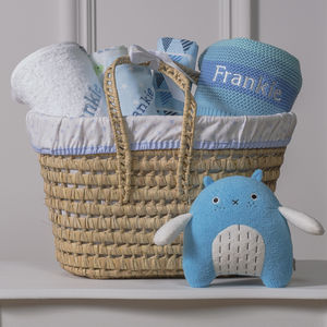 Personalised New Baby Gift Basket With Bird Toy