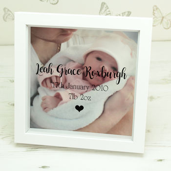 Personalised New Baby Photo Box Frame