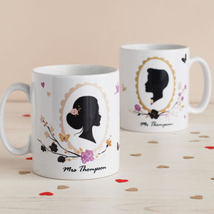 Set Of Two Romantic Silhouette Mr And Mrs Mugs - for the couple