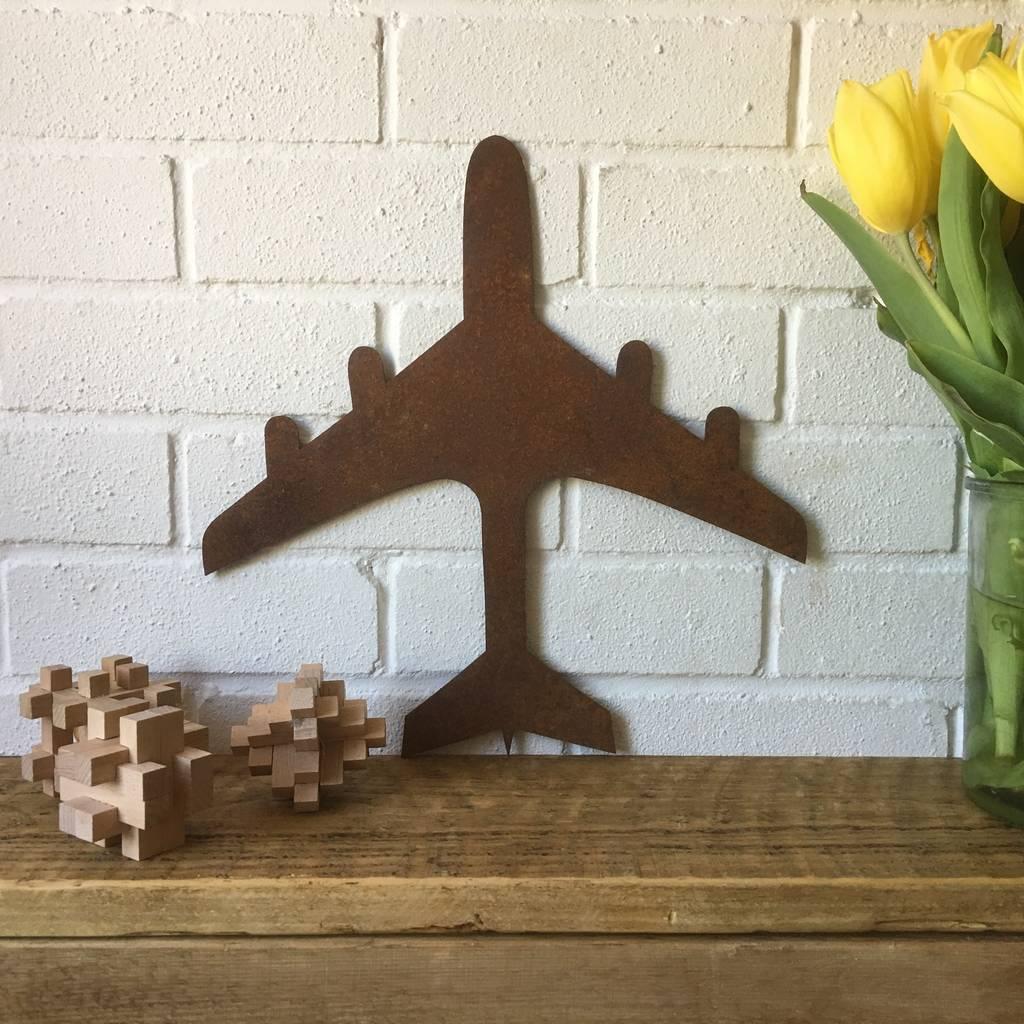 Rusted Metal Aeroplane Silhouette