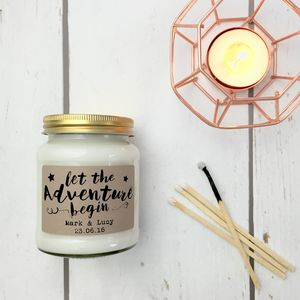 Personalised 'Let The Adventure Begin' Soy Candle