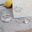 Silver Double Daisy Disc Wrap Ring