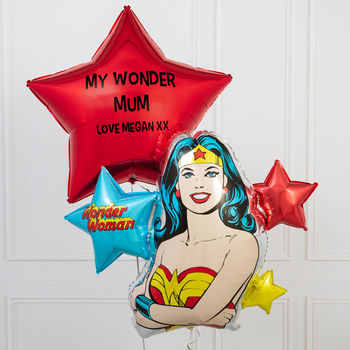 Inflated Personalised Super Mum Balloon Bunch