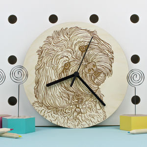 Cockapoo Dog Portrait Wall Clock - kitchen