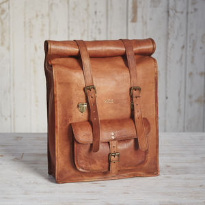 Personalised Large Leather Rolltop Backpack - new in fashion