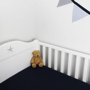 Plain Navy Blue Fitted Sheet Cot Bed And Single - cot bedding