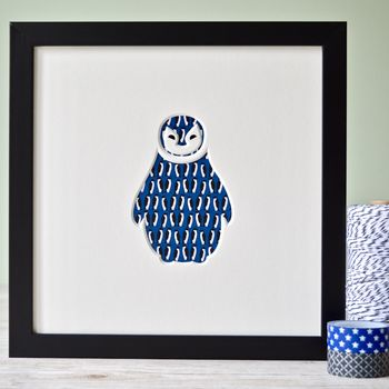 Personalised New Baby Penguin Cut Out Artwork
