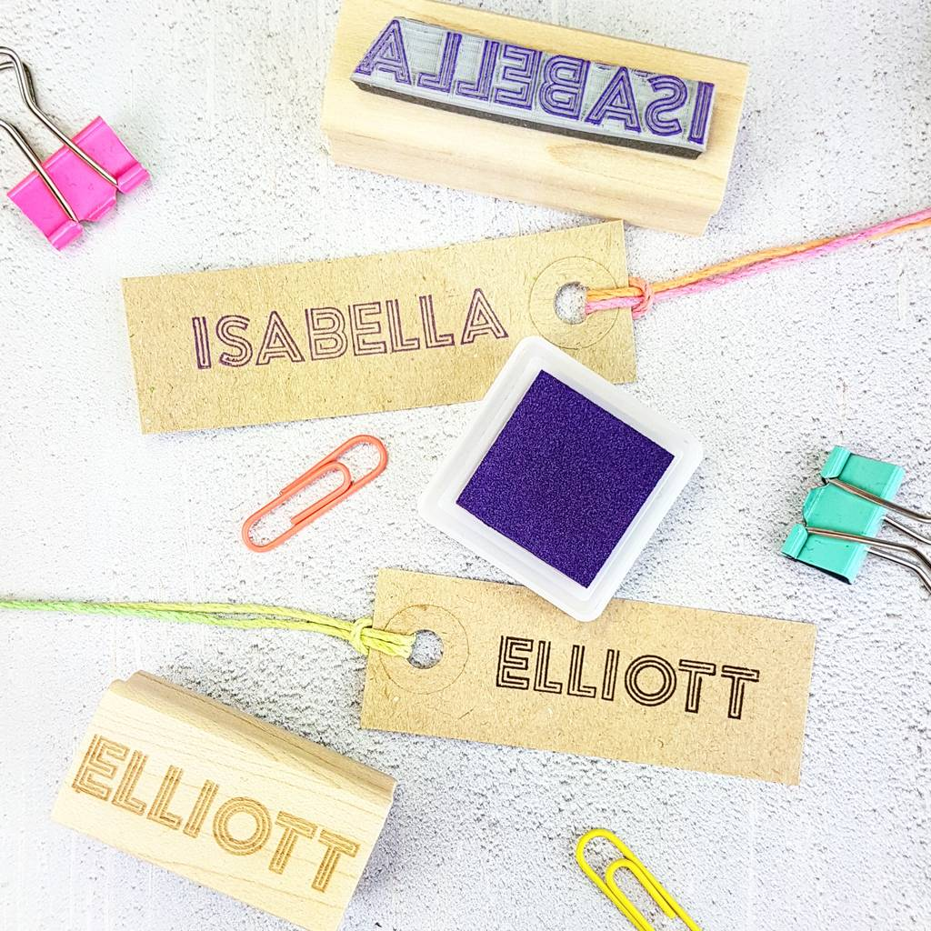 Personalised Neon Light Name Rubber Stamp By Skull And Cross Buns