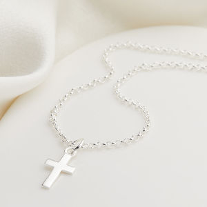 Childs Sterling Silver Cross Necklace
