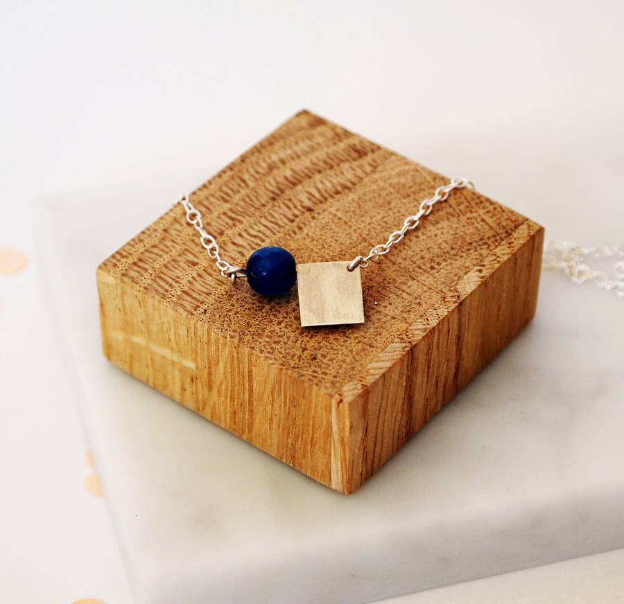 Jade And Square Necklace