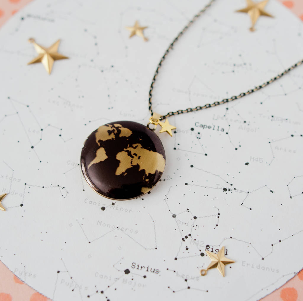 Black And Gold Map Locket