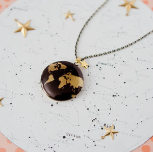 Black And Gold Map Locket - necklaces & pendants