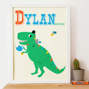 Tea Rex Dinosaur Personalised Name Print - children's pictures & paintings