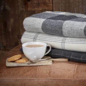 Cashmere And Alpaca Throw Collection Grey And Off White - blankets & throws