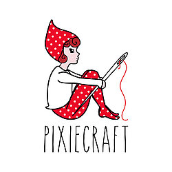 A small pixie in red and white polkadots holding a needle and thread