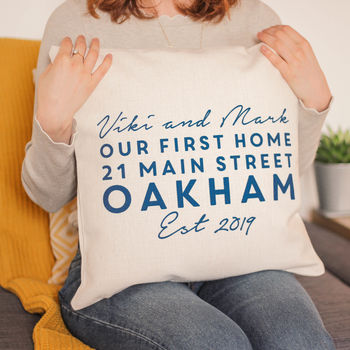 Personalised First Home Address Cushion