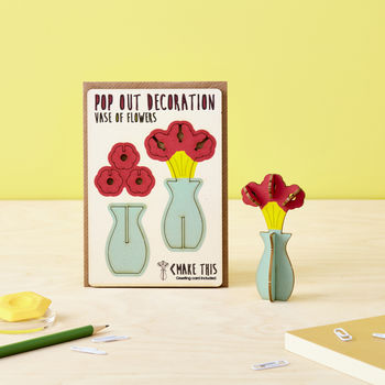 Pop Out Vase Of Flowers Greeting Card