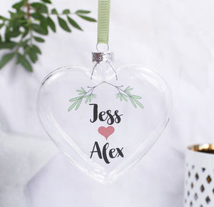 Christmas Mistletoe Flat Heart Bauble For Couples - personalised