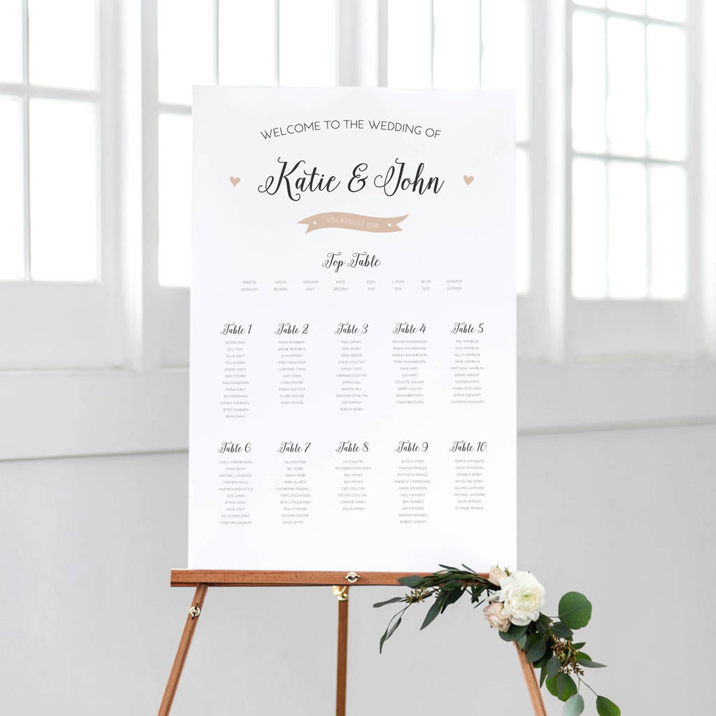Pearl wedding table plan by peach wolfe paper co for Table no border