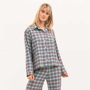 Women's Turquoise Brushed Cotton Pyjamas