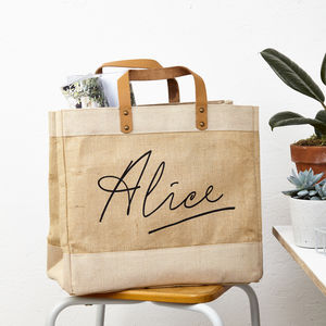 Personalised Name Jute Storage Bag - womens
