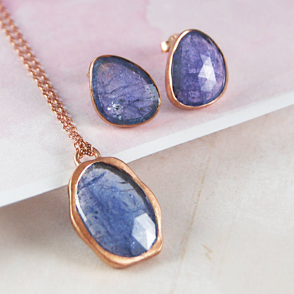 Rose Gold December Birthstone Tanzanite Jewellery Set