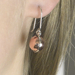 Mixed Metal Copper And Sterling Silver Ball Earrings