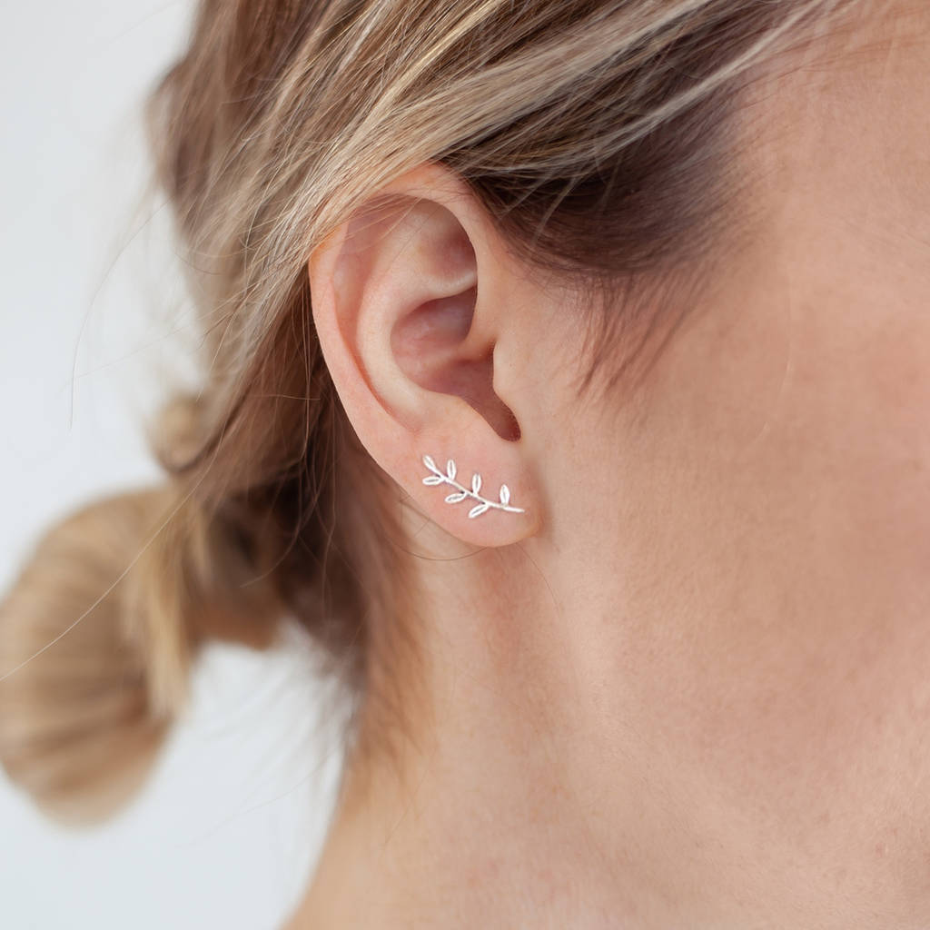 Personalised Sterling Leaf Climber Earrings by Bloom Boutique