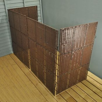 Rattan Triple Wheelie Bin Screen