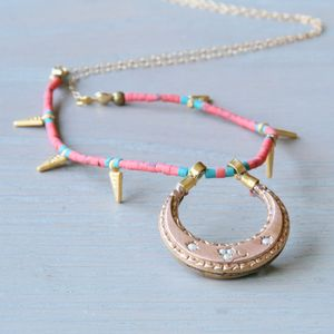 Coral Charm Golden Crescent Necklace - necklaces & pendants