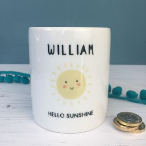 Children's Hello Sunshine Personalised Money Box