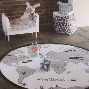 'Hello World' Hand Printed Playmat - baby's room