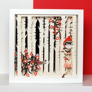 Framed Red Riding Hood Fairytale Papercut Art