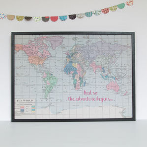 Printed Quote World Map Noticeboard - noticeboards