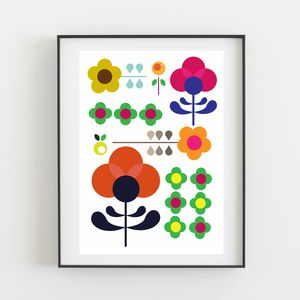Colourful Retro Floral Print - baby's room