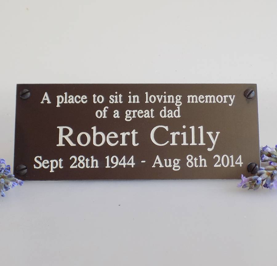 personalised memorial bench plaque by england signs. Black Bedroom Furniture Sets. Home Design Ideas