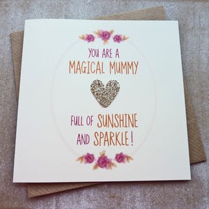 Magical Mummy Rose Gold Glitter Heart Birthday Card