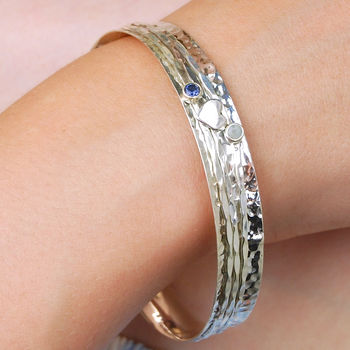 Cherish Heart Sterling Silver Spinning Bangle