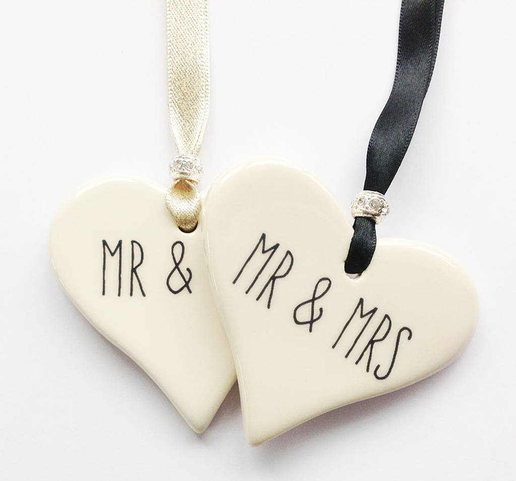 Mr And Mrs Ceramic Heart