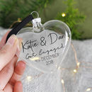 Christmas Engagement Glass Heart Bauble