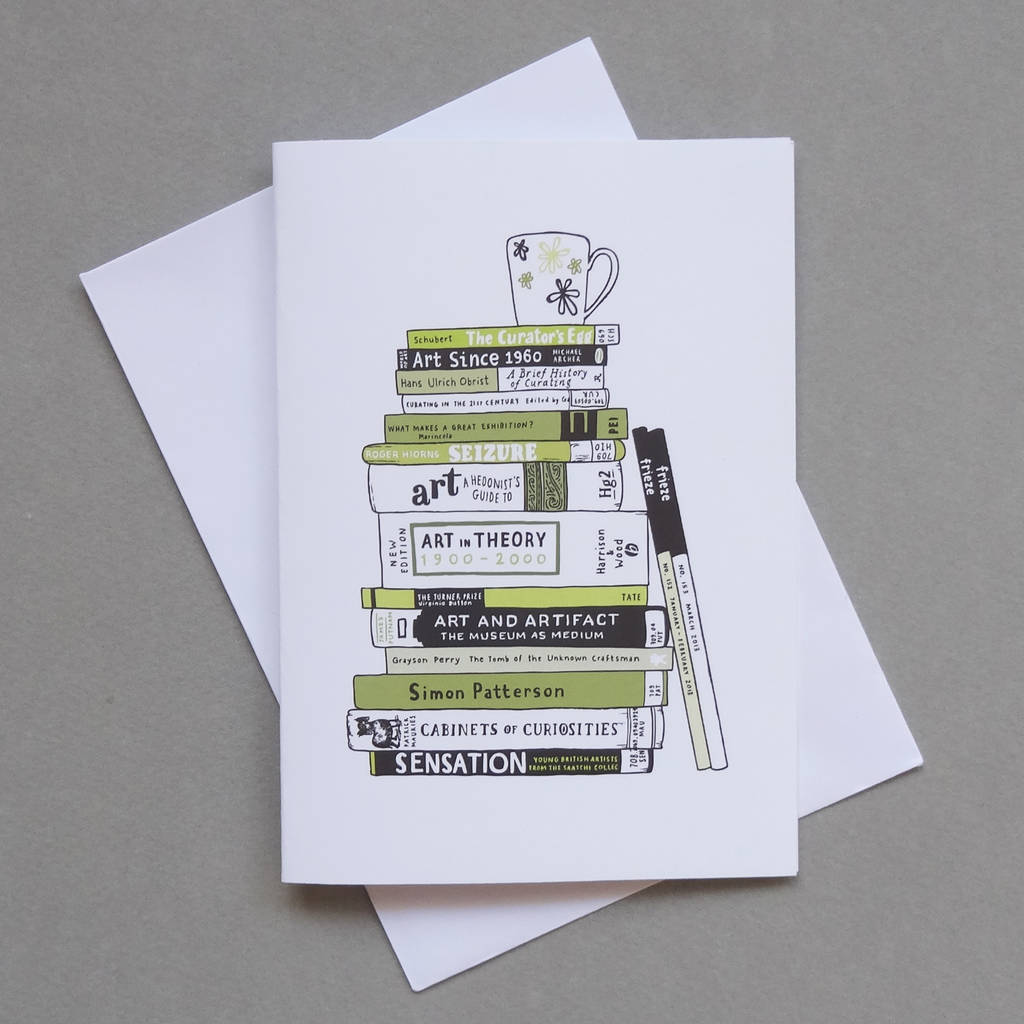 Art Books Greetings Card By Nic Farrell Illustration