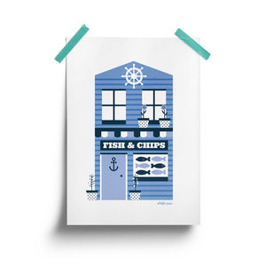 Fish And Chip Shop Print - drawings & illustrations