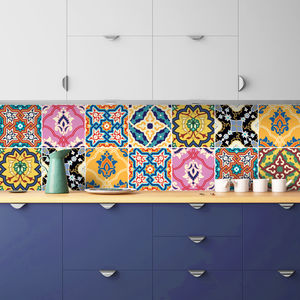 Arabic Multicoloured Tile Stickers Set Pack Of 24 Tiles